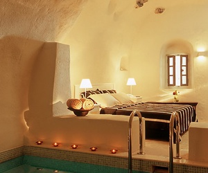 bedroom, pool, and bed image