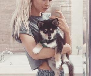 beautiful, dog, and girl image