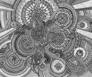 black and white, art, and mandala image