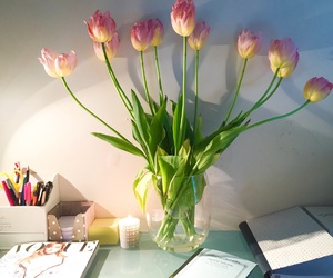 candle, desk, and flowers image