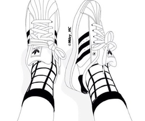 adidas, black and white, and drawing image