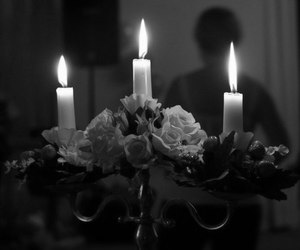 candle, black and white, and flowers image