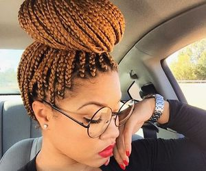 braid, glasses, and box braids image