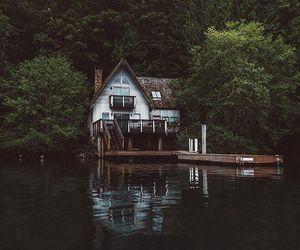 house, nature, and lake image