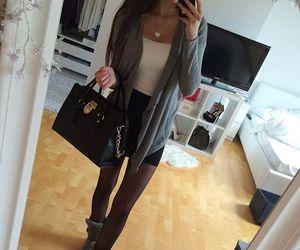 black hair, handbag, and tights image
