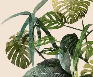 green, plants, and art image