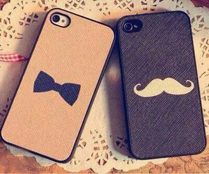 iphone, mustache, and case image