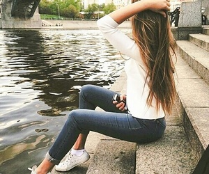 hairstyles, water, and long hair image