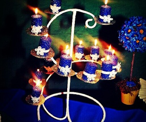 blue, candle, and light image