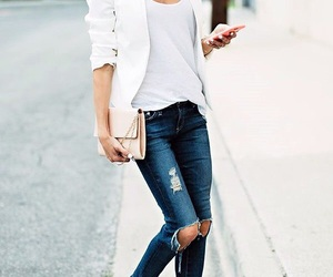 purse, ripped jeans, and nude heels image