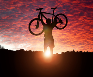 bike, mountain, and clouds image
