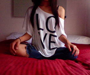 girl, love, and t-shirt image