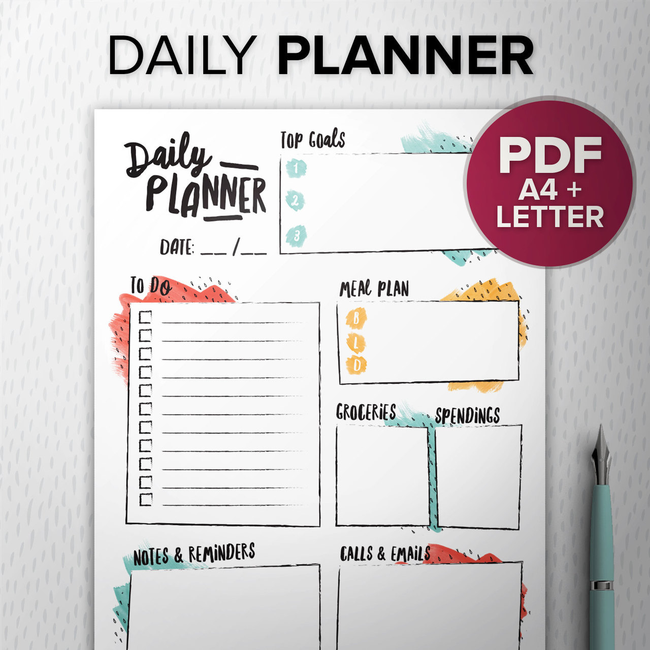 photo regarding Diy Daily Planner titled Vibrant In the direction of Do checklist PDF Marker, Printable each day planner, Do it yourself