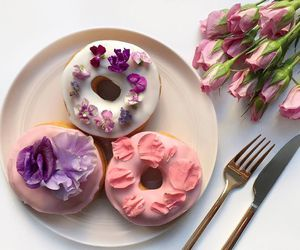 flowers, donuts, and food image
