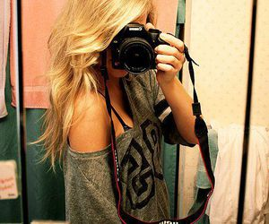 girl, camera, and blonde image
