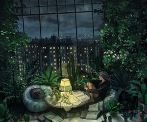 art, night, and book image