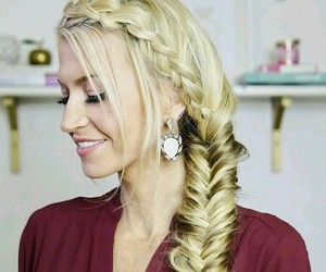 beauty, blonde, and braided hair image