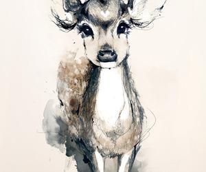 drawing, art, and deer image