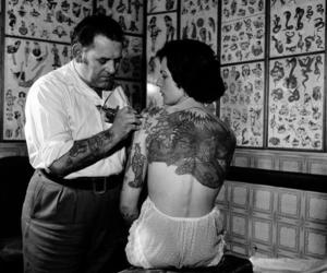 tattoo, black and white, and vintage image