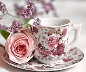flowers, rose, and tea image