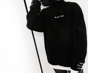 black and white, black n white, and black sweater image