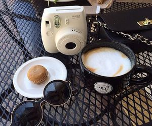 coffee, polaroid, and sunglasses image
