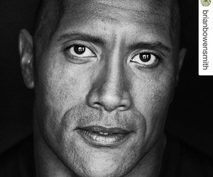 b&w, black and white, and Dwayne Johnson image