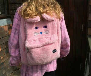 blonde, pink, and backpack image