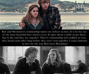 harry potter, ron and hermione, and love image