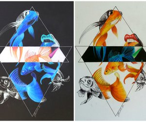 black&white, drawing, and goldfish image