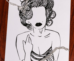 art, black and white, and etsy image