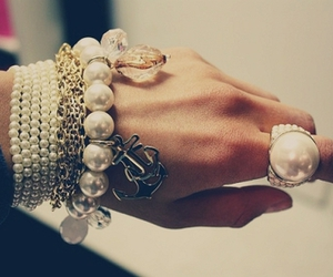 bracelet, ring, and pearls image