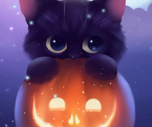 Halloween, cat, and pumpkin image