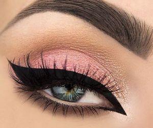 makeup, eyes, and pink image