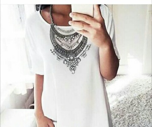 dress, necklace, and white image