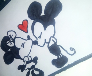 black and white, mickey mouse, and true love image