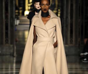 fashion, white coat, and model image