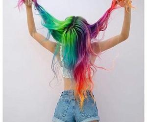 hair, rainbow, and woow image