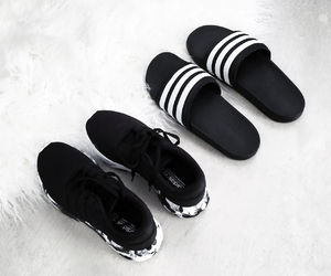 adidas, black and white, and minimalism image