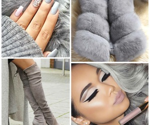 fashion, love, and gray image