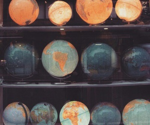 world, vintage, and globe image