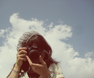 camera, girl, and sky image