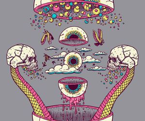eyes, skull, and trippy image