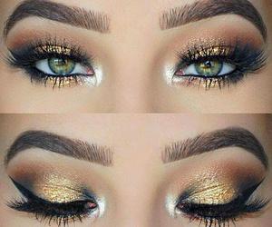 eyelashes, gold, and mascara image