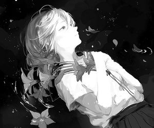 monochrome, anime, and black and white image