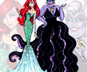 ariel, disney, and ursula image