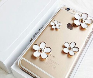 iphone, flowers, and gold image
