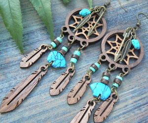 etsy, feather earrings, and turquoise earrings image