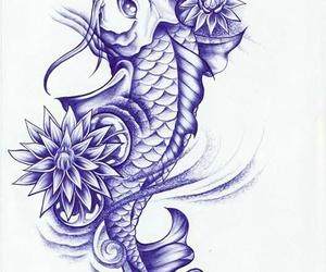 fish, pez koi, and drawing blue image