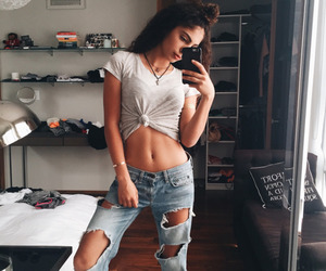 fashion, girl, and destroyed jeans image
